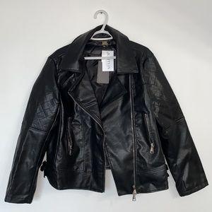 Oversized Faux Leather Moro Jacket
